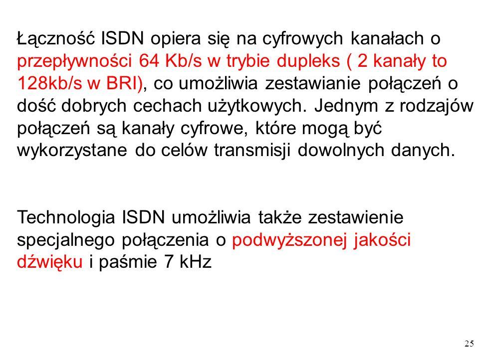 25 Łączność ISDN opiera się na cyfrowych kanałach o przepływności 64 Kb/s w trybie dupleks ( 2 kanały to 128kb/s w BRI), co umożliwia zestawianie połączeń o dość dobrych cechach użytkowych.