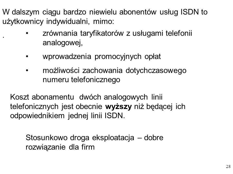 28 W dalszym ciągu bardzo niewielu abonentów usług ISDN to użytkownicy indywidualni, mimo:. zrównania taryfikatorów z usługami telefonii analogowej, w