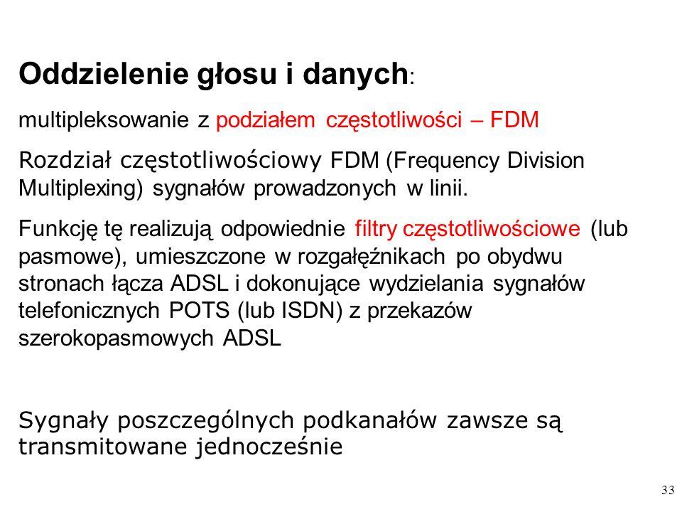 33 Oddzielenie głosu i danych : multipleksowanie z podziałem częstotliwości – FDM Rozdział częstotliwościowy FDM (Frequency Division Multiplexing) sygnałów prowadzonych w linii.
