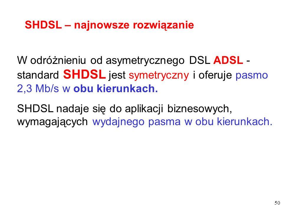 50 W odróżnieniu od asymetrycznego DSL ADSL - standard SHDSL jest symetryczny i oferuje pasmo 2,3 Mb/s w obu kierunkach. SHDSL nadaje się do aplikacji