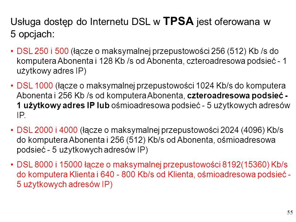 55 Usługa dostęp do Internetu DSL w TPSA jest oferowana w 5 opcjach: DSL 250 i 500 (łącze o maksymalnej przepustowości 256 (512) Kb /s do komputera Abonenta i 128 Kb /s od Abonenta, czteroadresowa podsieć - 1 użytkowy adres IP) DSL 1000 (łącze o maksymalnej przepustowości 1024 Kb/s do komputera Abonenta i 256 Kb /s od komputera Abonenta, czteroadresowa podsieć - 1 użytkowy adres IP lub ośmioadresowa podsieć - 5 użytkowych adresów IP.