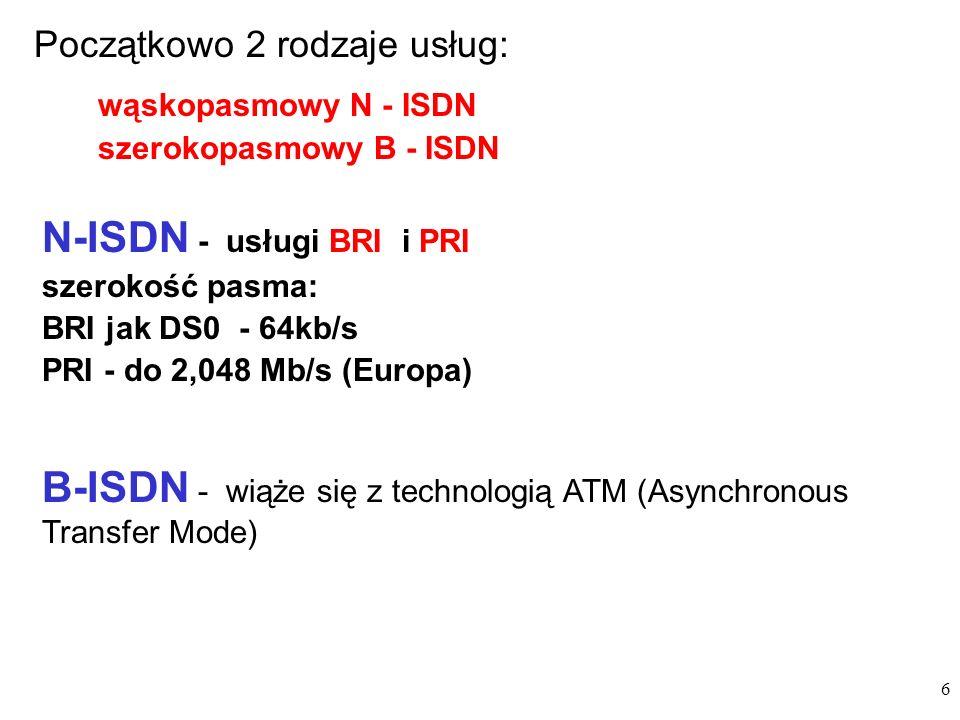 6 Początkowo 2 rodzaje usług: wąskopasmowy N - ISDN szerokopasmowy B - ISDN N-ISDN - usługi BRI i PRI szerokość pasma: BRI jak DS0 - 64kb/s PRI - do 2,048 Mb/s (Europa) B-ISDN - wiąże się z technologią ATM (Asynchronous Transfer Mode)