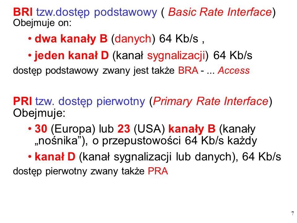 7 BRI tzw.dostęp podstawowy ( Basic Rate Interface) Obejmuje on: dwa kanały B (danych) 64 Kb/s, jeden kanał D (kanał sygnalizacji) 64 Kb/s dostęp pods