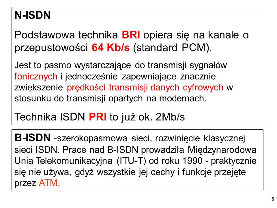 8 N-ISDN Podstawowa technika BRI opiera się na kanale o przepustowości 64 Kb/s (standard PCM). Jest to pasmo wystarczające do transmisji sygnałów foni