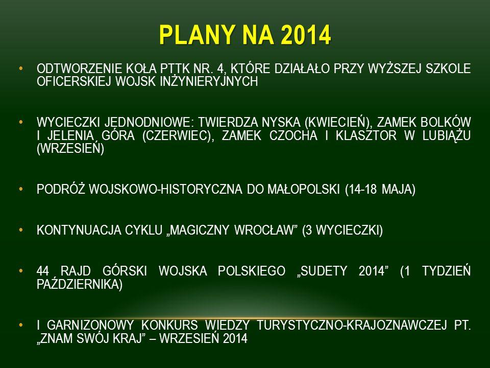 PLANY NA 2014 ODTWORZENIE KOŁA PTTK NR. 4, KTÓRE DZIAŁAŁO PRZY WYŻSZEJ SZKOLE OFICERSKIEJ WOJSK INŻYNIERYJNYCH WYCIECZKI JEDNODNIOWE: TWIERDZA NYSKA (