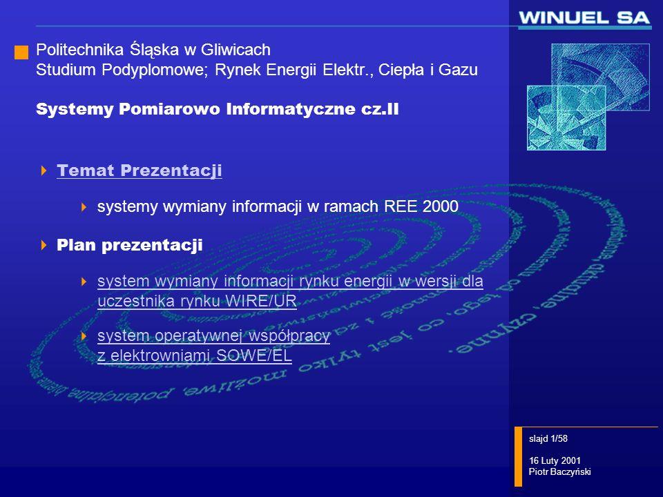 slajd 32/58 16 Luty 2001 Piotr Baczyński OSP WIRE/UR+ system pomiarowo -rozliczeniowy system pomiarowo -rozliczeniowy GE OSP GE OHT WIRE/UR+ system pomiarowo -rozliczeniowy system pomiarowo -rozliczeniowy OSP GE OHT lokalna składnica danych uniwersalna platforma komunikacyjna rynku