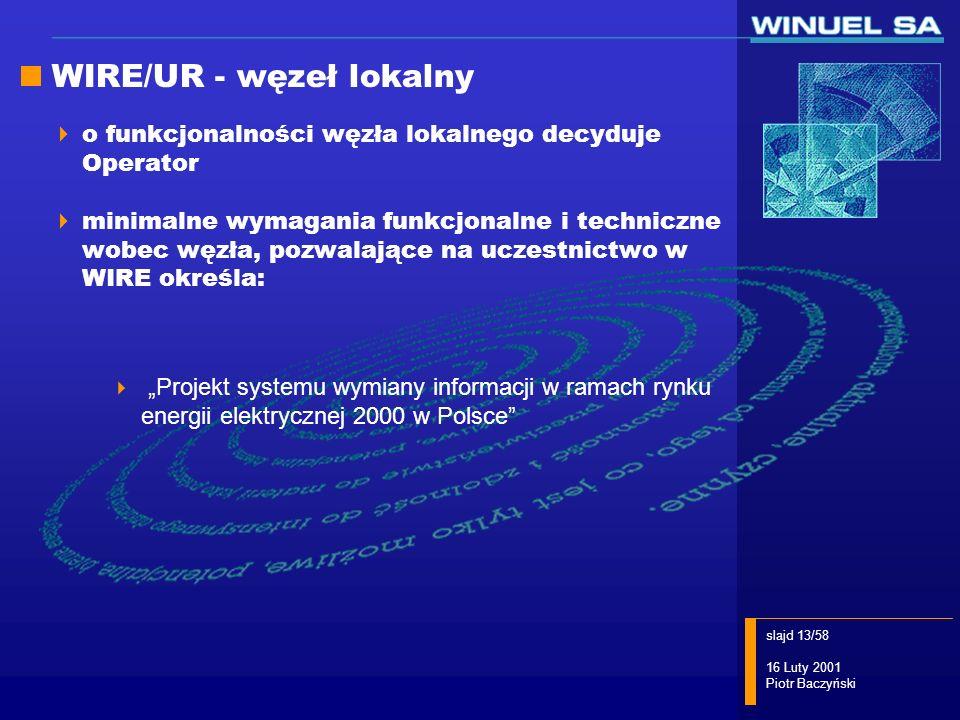 slajd 13/58 16 Luty 2001 Piotr Baczyński WIRE/UR - węzeł lokalny o funkcjonalności węzła lokalnego decyduje Operator minimalne wymagania funkcjonalne