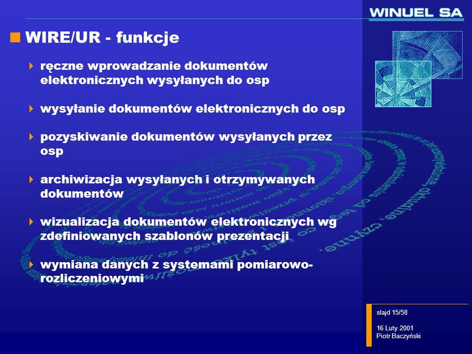 slajd 15/58 16 Luty 2001 Piotr Baczyński WIRE/UR - funkcje ręczne wprowadzanie dokumentów elektronicznych wysyłanych do osp wysyłanie dokumentów elekt