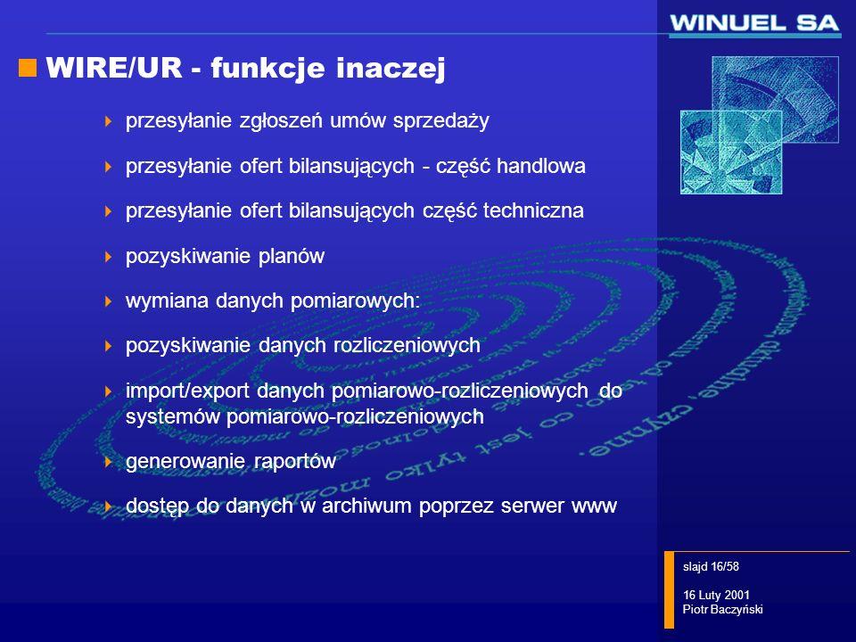 slajd 16/58 16 Luty 2001 Piotr Baczyński WIRE/UR - funkcje inaczej przesyłanie zgłoszeń umów sprzedaży przesyłanie ofert bilansujących - część handlow