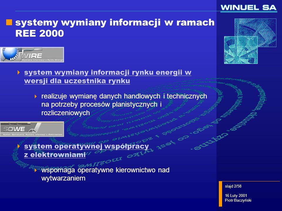 slajd 23/58 16 Luty 2001 Piotr Baczyński cechy WIRE/UR obsługa wszystkich dokumentów elektronicznych wynikających z zasad RE2000 możliwość rozbudowy systemu o nowe dokumenty wymiane z innymi uczestnikami rynku pełna wymagana funkcjonalność a nie tylko zestaw minimalny wbudowane archiwum wysyłanych i odbieranych komunikatów gromadzenie informacji historycznych, audytowanie przebiegu procesów rynkowych, dostęp do informacji dla różnych służb poprawa ergonomii pracy (copy&paste) możliwość ręcznej edycji wszystkich dokumentów możliwość niezależnej pracy wire/ur niezależnie od narzędzi rynkowych możliwość integracji narzędzi rynkowych skuteczna dystrybucja informacji wbudowany portal informacyjny (serwer www) o zawartości archiwum komunikatów - raporty
