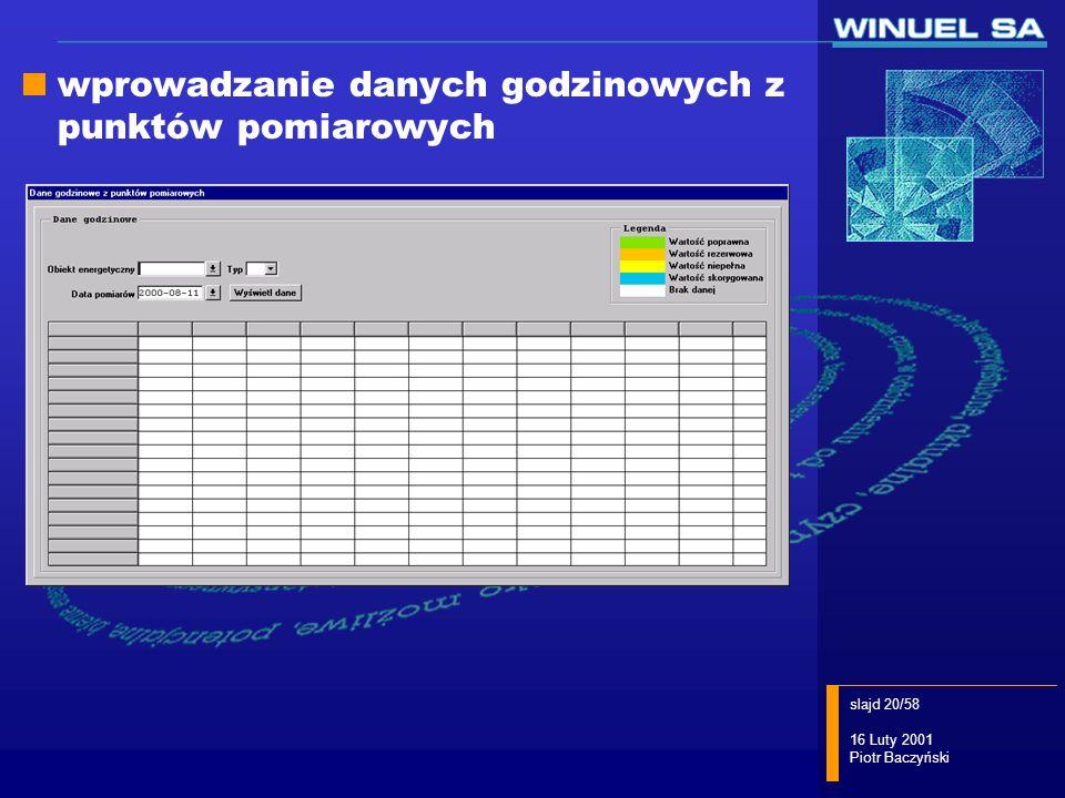 slajd 20/58 16 Luty 2001 Piotr Baczyński wprowadzanie danych godzinowych z punktów pomiarowych