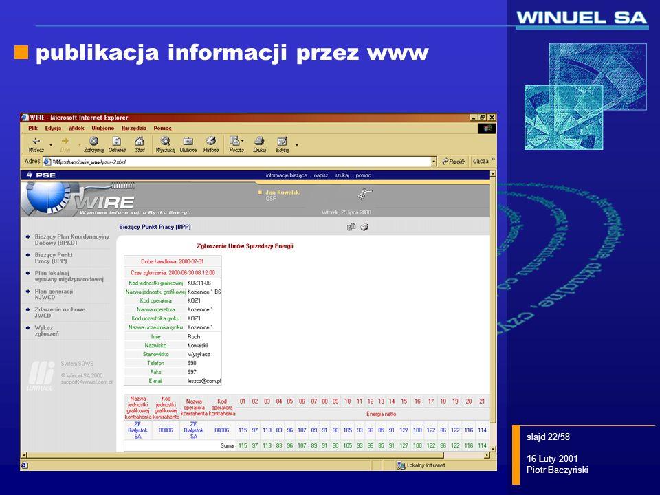 slajd 22/58 16 Luty 2001 Piotr Baczyński publikacja informacji przez www