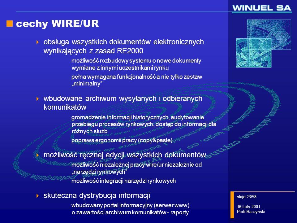 slajd 23/58 16 Luty 2001 Piotr Baczyński cechy WIRE/UR obsługa wszystkich dokumentów elektronicznych wynikających z zasad RE2000 możliwość rozbudowy s