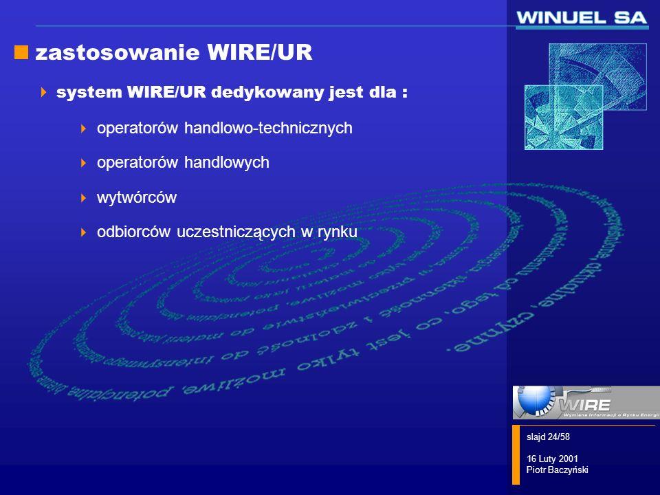 slajd 24/58 16 Luty 2001 Piotr Baczyński zastosowanie WIRE/UR system WIRE/UR dedykowany jest dla : operatorów handlowo-technicznych operatorów handlow