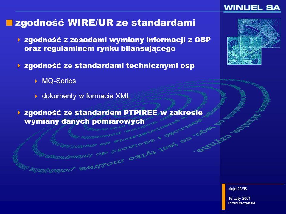 slajd 25/58 16 Luty 2001 Piotr Baczyński zgodność WIRE/UR ze standardami zgodność z zasadami wymiany informacji z OSP oraz regulaminem rynku bilansują