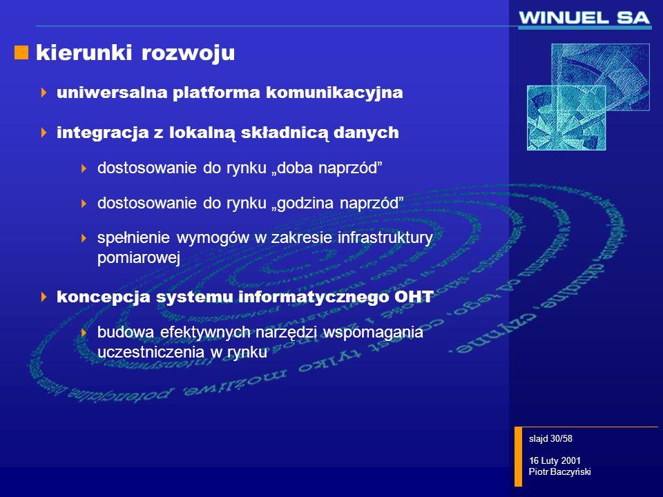 slajd 30/58 16 Luty 2001 Piotr Baczyński kierunki rozwoju uniwersalna platforma komunikacyjna integracja z lokalną składnicą danych dostosowanie do ry