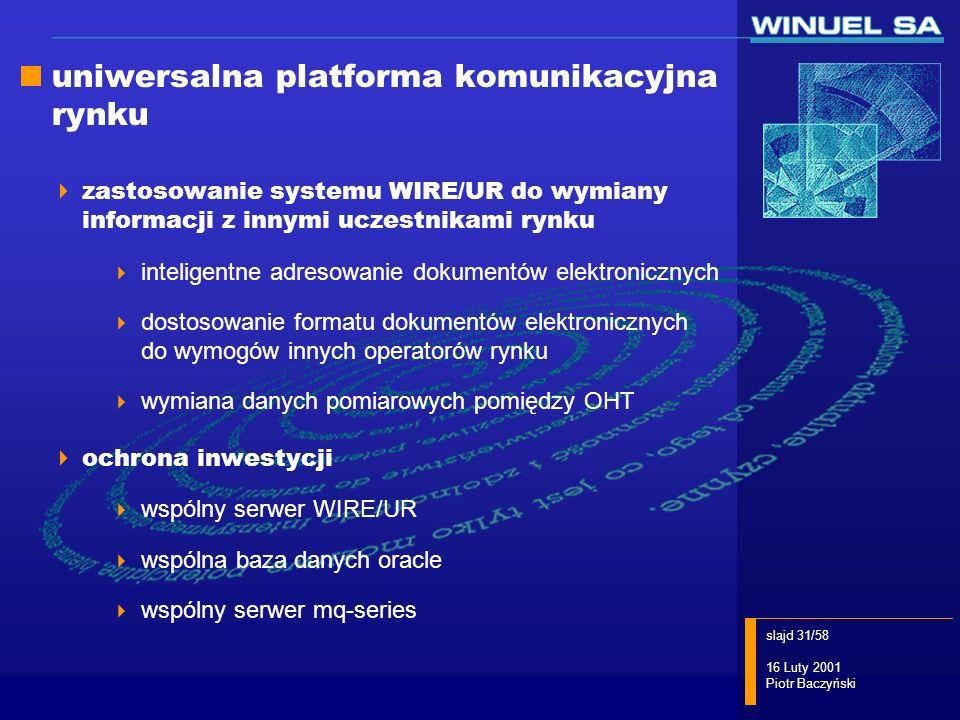 slajd 31/58 16 Luty 2001 Piotr Baczyński uniwersalna platforma komunikacyjna rynku zastosowanie systemu WIRE/UR do wymiany informacji z innymi uczestn