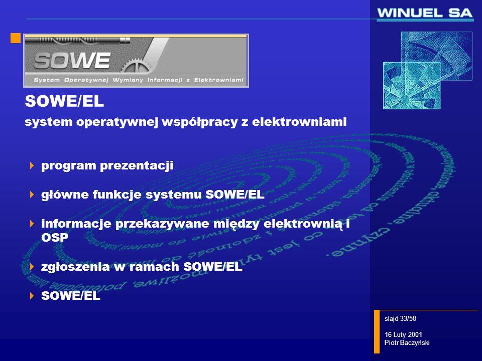 slajd 33/58 16 Luty 2001 Piotr Baczyński SOWE/EL system operatywnej współpracy z elektrowniami program prezentacji główne funkcje systemu SOWE/EL info