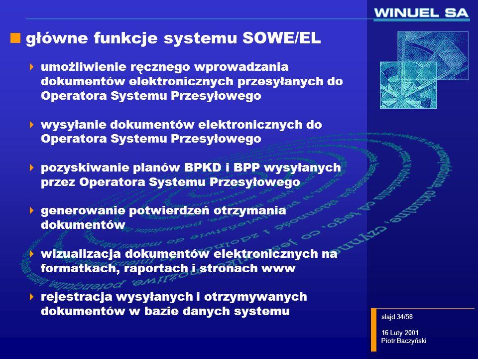 slajd 34/58 16 Luty 2001 Piotr Baczyński główne funkcje systemu SOWE/EL umożliwienie ręcznego wprowadzania dokumentów elektronicznych przesyłanych do