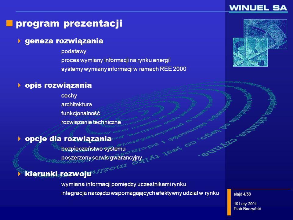 slajd 15/58 16 Luty 2001 Piotr Baczyński WIRE/UR - funkcje ręczne wprowadzanie dokumentów elektronicznych wysyłanych do osp wysyłanie dokumentów elektronicznych do osp pozyskiwanie dokumentów wysyłanych przez osp archiwizacja wysyłanych i otrzymywanych dokumentów wizualizacja dokumentów elektronicznych wg zdefiniowanych szablonów prezentacji wymiana danych z systemami pomiarowo- rozliczeniowymi