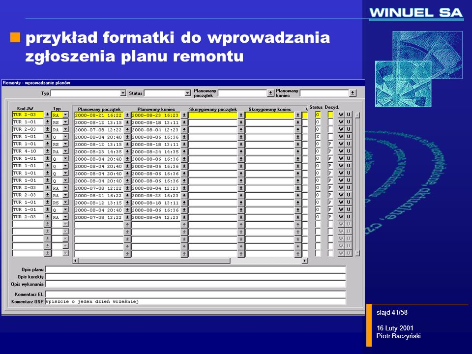 slajd 41/58 16 Luty 2001 Piotr Baczyński przykład formatki do wprowadzania zgłoszenia planu remontu