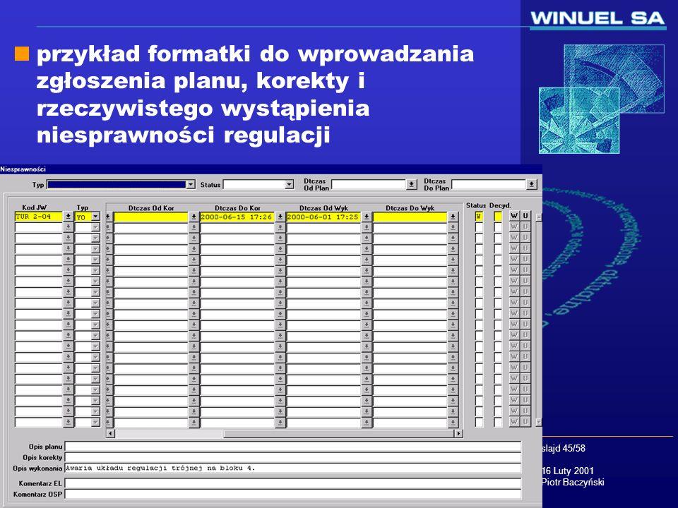 slajd 45/58 16 Luty 2001 Piotr Baczyński przykład formatki do wprowadzania zgłoszenia planu, korekty i rzeczywistego wystąpienia niesprawności regulac