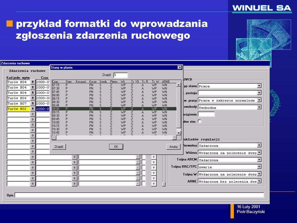slajd 47/58 16 Luty 2001 Piotr Baczyński przykład formatki do wprowadzania zgłoszenia zdarzenia ruchowego