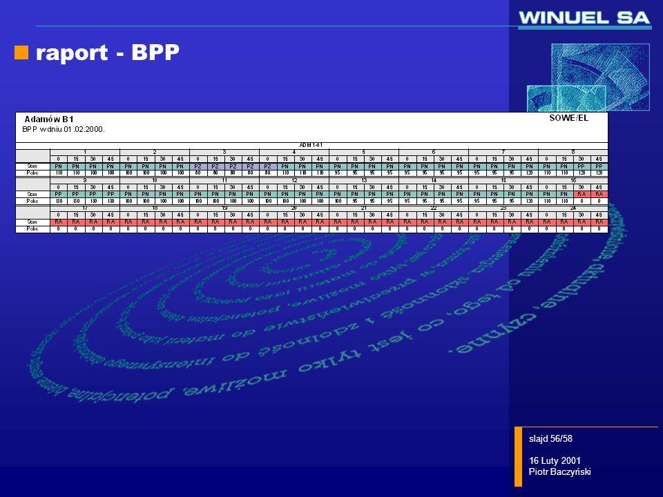 slajd 56/58 16 Luty 2001 Piotr Baczyński raport - BPP