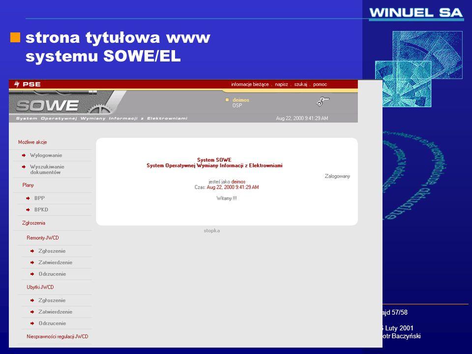 slajd 57/58 16 Luty 2001 Piotr Baczyński strona tytułowa www systemu SOWE/EL