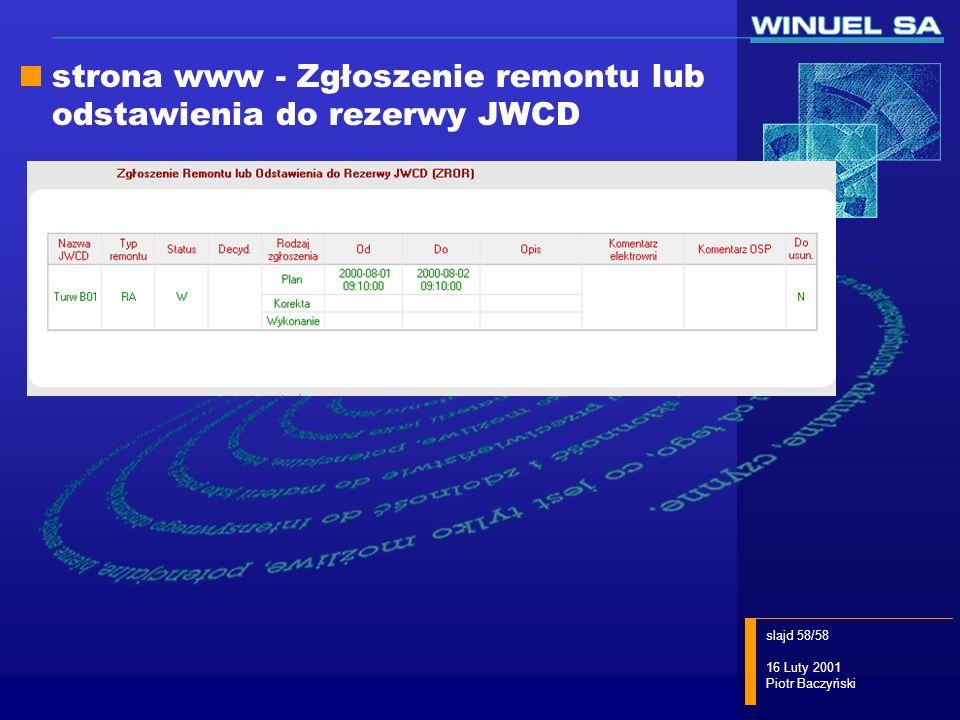 slajd 58/58 16 Luty 2001 Piotr Baczyński strona www - Zgłoszenie remontu lub odstawienia do rezerwy JWCD