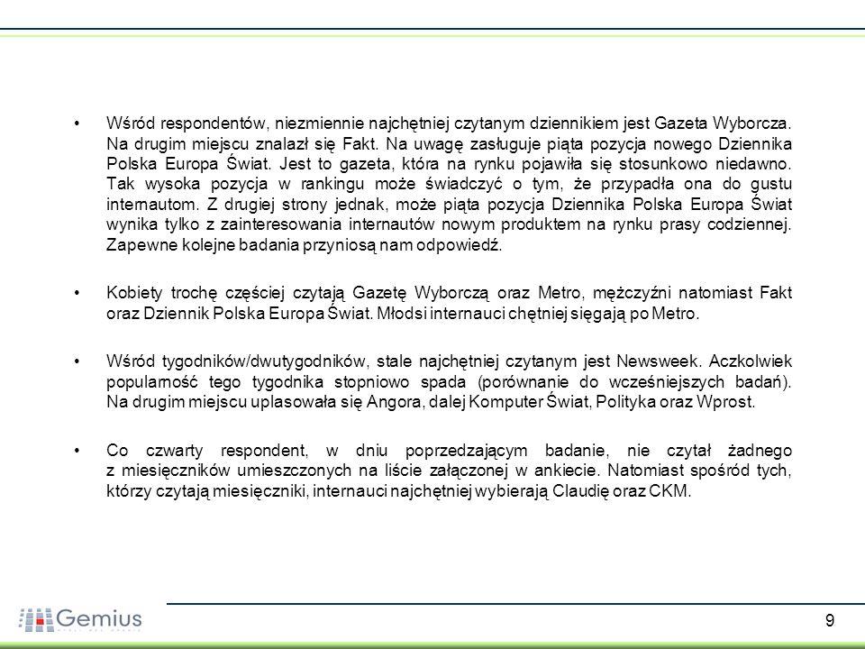 20 Źródło: gemiusReport, maj-czerwiec 2006 Korzystanie z tradycyjnych mediów przez internet - podział ze względu na płeć -