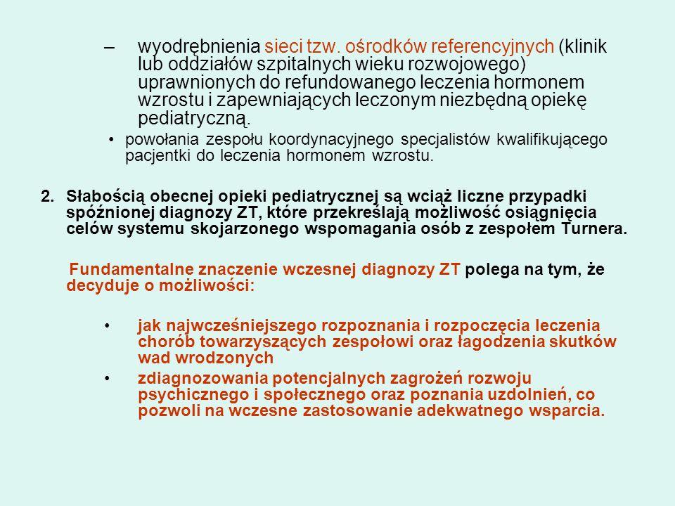 –wyodrębnienia sieci tzw. ośrodków referencyjnych (klinik lub oddziałów szpitalnych wieku rozwojowego) uprawnionych do refundowanego leczenia hormonem