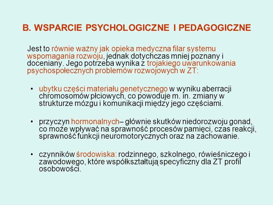 B. WSPARCIE PSYCHOLOGICZNE I PEDAGOGICZNE Jest to równie ważny jak opieka medyczna filar systemu wspomagania rozwoju, jednak dotychczas mniej poznany