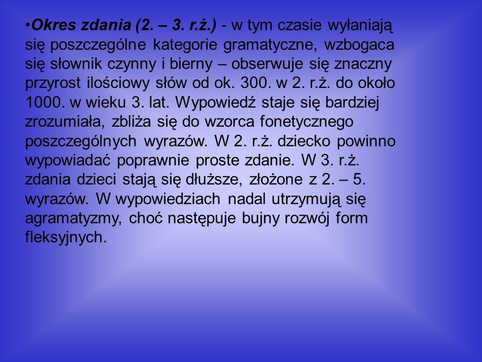 Okres zdania (2. – 3. r.ż.) - w tym czasie wyłaniają się poszczególne kategorie gramatyczne, wzbogaca się słownik czynny i bierny – obserwuje się znac