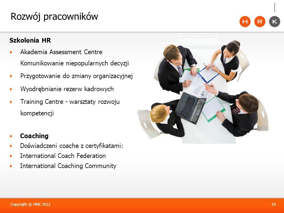 Rozwój pracowników Szkolenia HR Akademia Assessment Centre Komunikowanie niepopularnych decyzji Przygotowanie do zmiany organizacyjnej Wyodrębnianie r