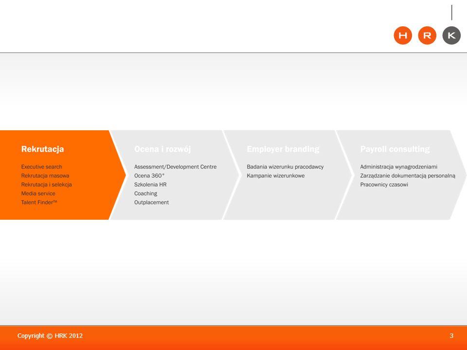 Nasza siła w specjalizacji Copyright © HRK 20124 Specjalizacje rekrutacyjne Zalety specjalizacji: Stały monitoring branżowego rynku pracy.