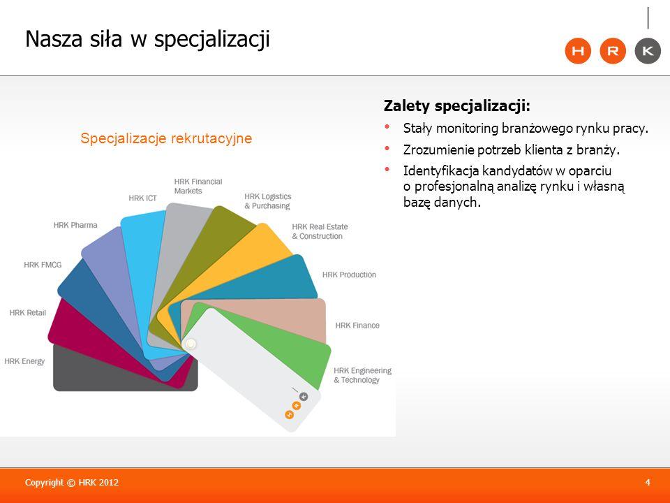 Nasza siła w specjalizacji Copyright © HRK 20124 Specjalizacje rekrutacyjne Zalety specjalizacji: Stały monitoring branżowego rynku pracy. Zrozumienie