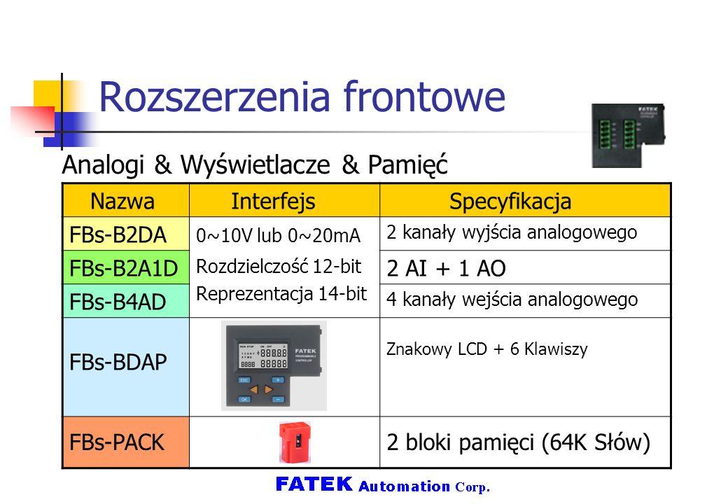 Rozszerzenia frontowe Analogi & Wyświetlacze & Pamięć Nazwa Interfejs Specyfikacja FBs-B2DA 0~10V lub 0~20mA Rozdzielczość 12-bit Reprezentacja 14-bit