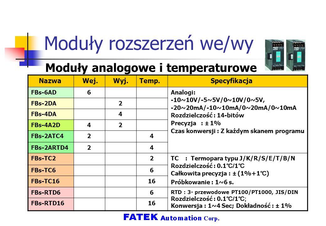 Moduły rozszerzeń we/wy Moduły analogowe i temperaturowe Nazwa Wej.Wyj.Temp. Specyfikacja FBs-6AD 6 Analogi: -10~10V/-5~5V/0~10V/0~5V, -20~20mA/-10~10
