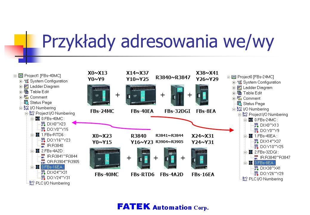 Przykłady adresowania we/wy +++ FBs-24MCFBs-40EAFBs-32DGIFBs-8EA X0~X13 Y0~Y9 X14~X37 Y10~Y25 R3840~R3847 X38~X41 Y26~Y29 +++ FBs-40MCFBs-RTD6FBs-4A2D