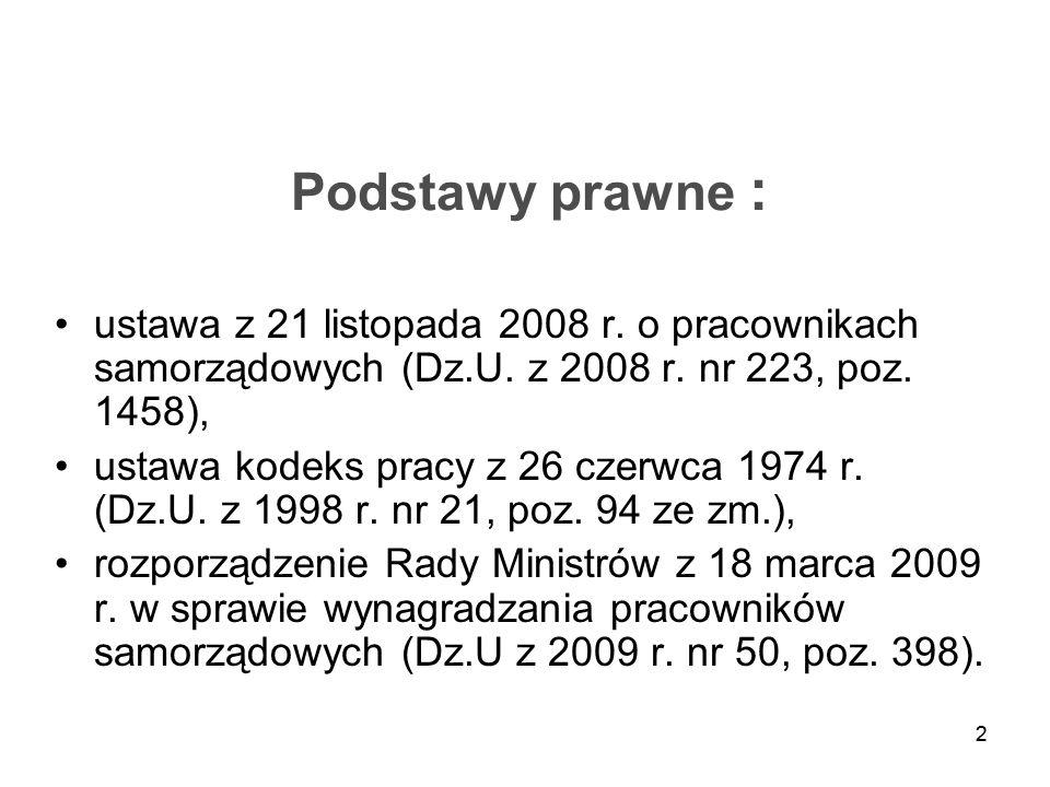 22 Podstawy prawne : ustawa z 21 listopada 2008 r. o pracownikach samorządowych (Dz.U. z 2008 r. nr 223, poz. 1458), ustawa kodeks pracy z 26 czerwca