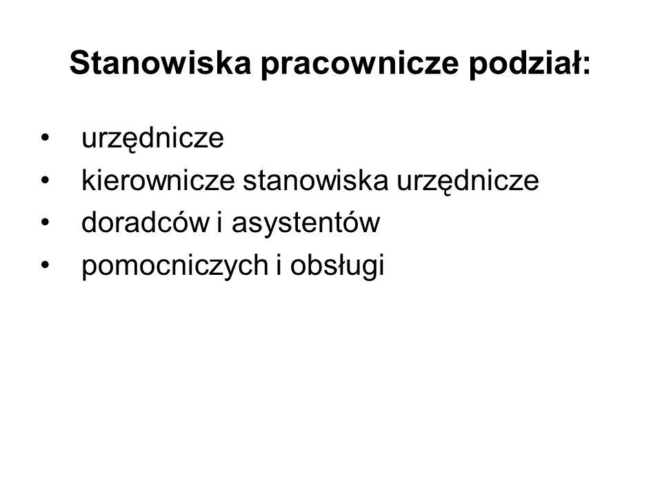 Stanowiska pracownicze podział: urzędnicze kierownicze stanowiska urzędnicze doradców i asystentów pomocniczych i obsługi