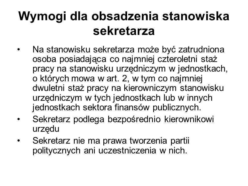 Obowiązki pracownika samorządowego przestrzeganie Konstytucji Rzeczypospolitej Polskiej i innych przepisów prawa; wykonywanie zadań sumiennie, sprawnie i bezstronnie; udzielanie informacji organom, instytucjom i osobom fizycznym oraz udostępnianie dokumentów znajdujących się w posiadaniu jednostki, w której pracownik jest zatrudniony, jeżeli prawo tego nie zabrania; dochowanie tajemnicy ustawowo chronionej; zachowanie uprzejmości i życzliwości w kontaktach z obywatelami, zwierzchnikami, podwładnymi oraz współpracownikami; zachowanie się z godnością w miejscu pracy i poza nim; stałe podnoszenie umiejętności i kwalifikacji zawodowych ( patrz art.