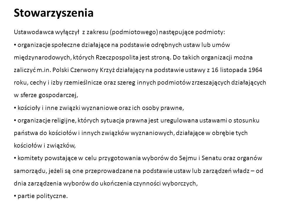 Ustawodawca wyłączył z zakresu (podmiotowego) następujące podmioty: organizacje społeczne działające na podstawie odrębnych ustaw lub umów międzynarod