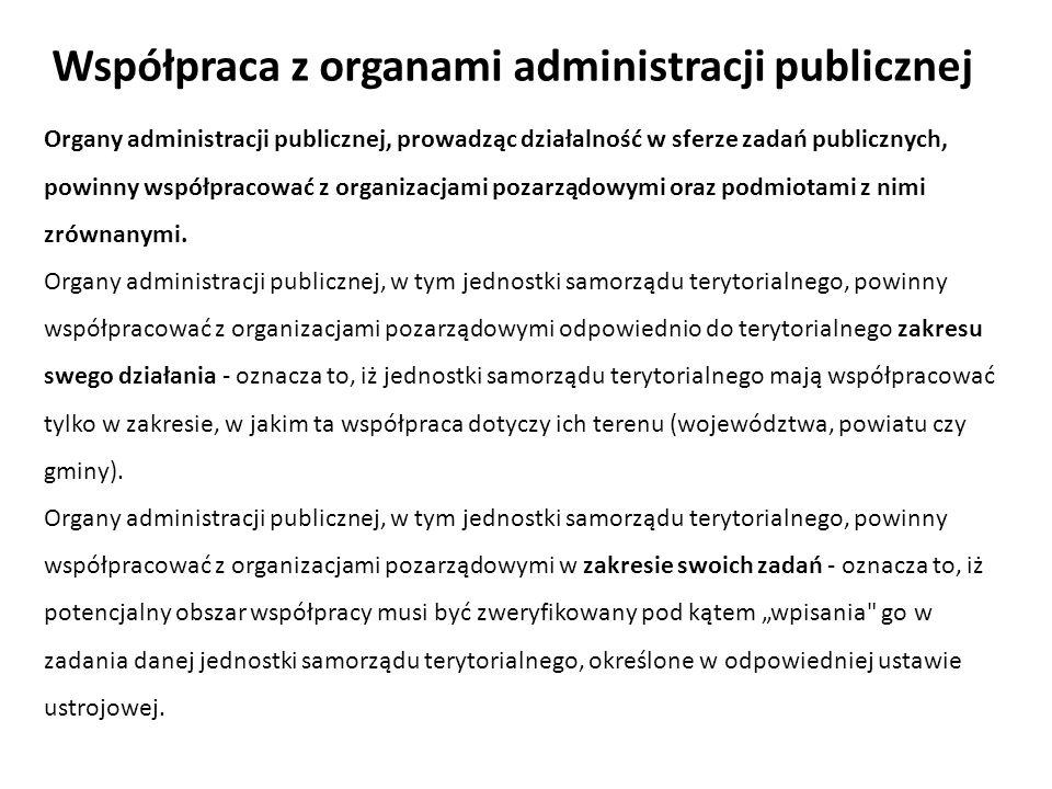 Organy administracji publicznej, prowadząc działalność w sferze zadań publicznych, powinny współpracować z organizacjami pozarządowymi oraz podmiotami