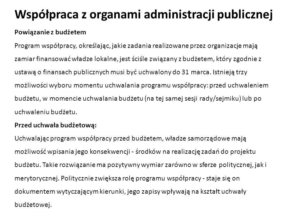 Powiązanie z budżetem Program współpracy, określając, jakie zadania realizowane przez organizacje mają zamiar finansować władze lokalne, jest ściśle z