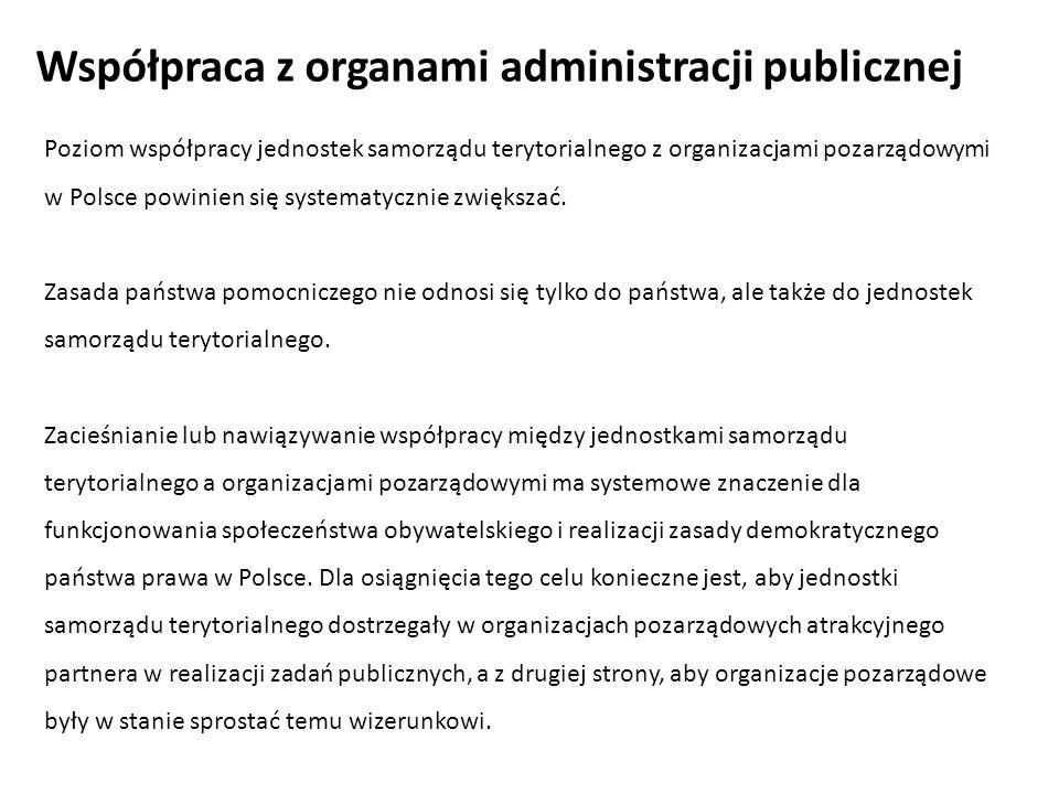 Poziom współpracy jednostek samorządu terytorialnego z organizacjami pozarządowymi w Polsce powinien się systematycznie zwiększać. Zasada państwa pomo