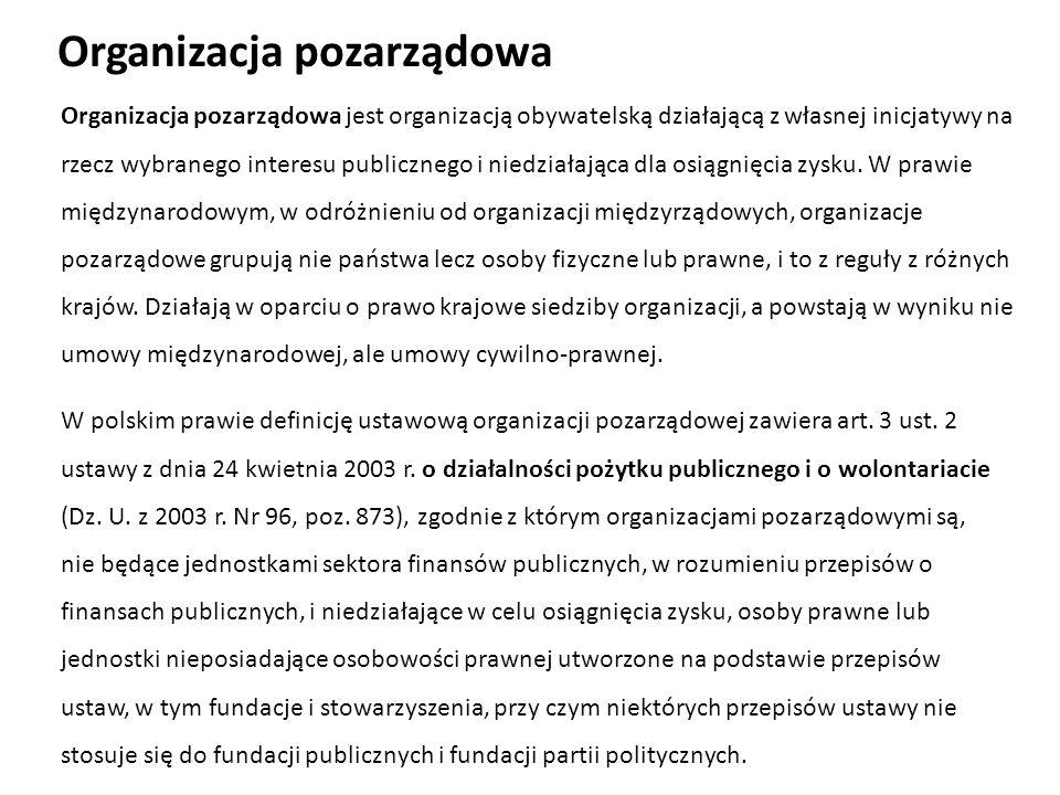 Ustawodawca wyłączył z zakresu (podmiotowego) następujące podmioty: organizacje społeczne działające na podstawie odrębnych ustaw lub umów międzynarodowych, których Rzeczpospolita jest stroną.