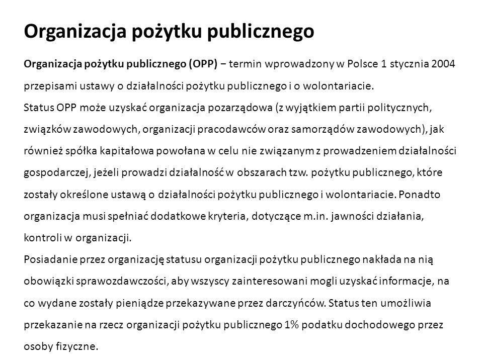 Organizacja pożytku publicznego (OPP) termin wprowadzony w Polsce 1 stycznia 2004 przepisami ustawy o działalności pożytku publicznego i o wolontariac
