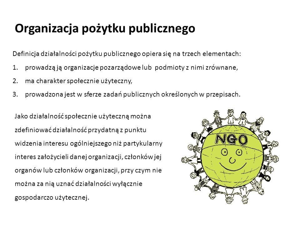 Definicja działalności pożytku publicznego opiera się na trzech elementach: 1. prowadzą ją organizacje pozarządowe lub podmioty z nimi zrównane, 2. ma